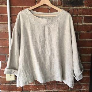 Bryn walker long sleeve linen blouse